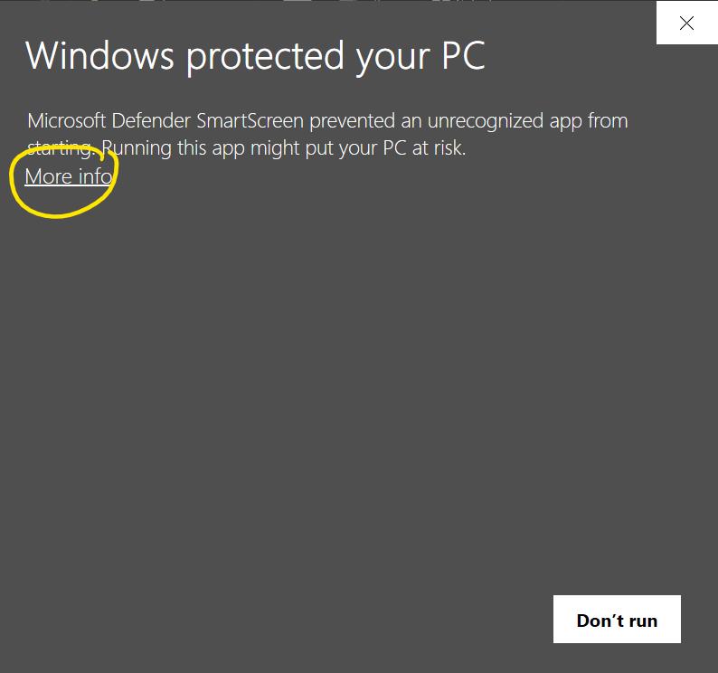 Windows protected your PC dari install webprint